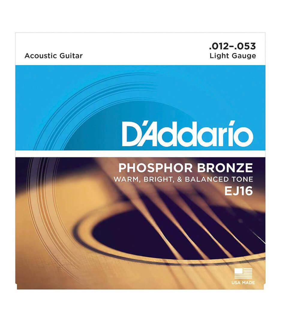 D'Addario - EJ16 SET ACOUS GTR PHOS BRONZE LITE