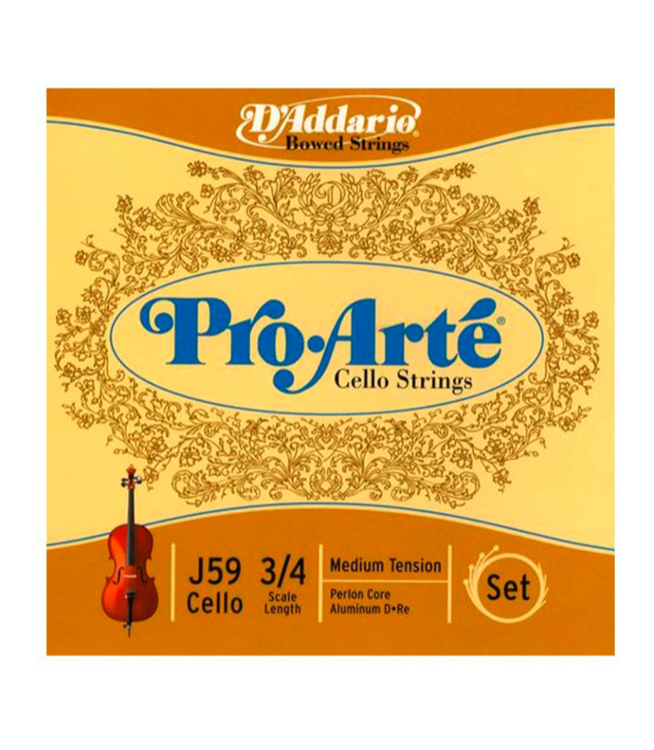 buy d'addario pro arte cello string set 3 4 scale medium tension