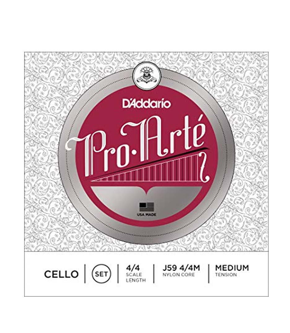 buy d'addario pro arte cello string set 4 4 scale medium tension