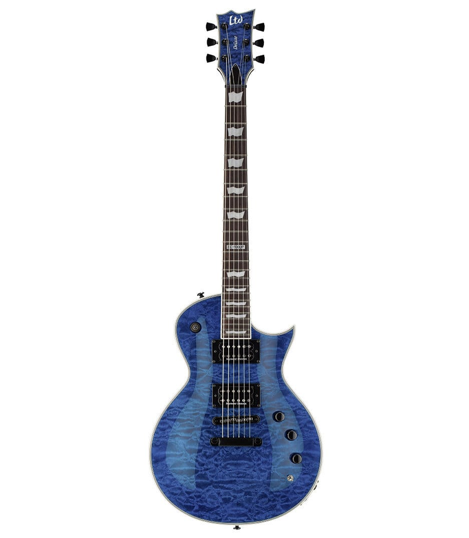 buy esp ltd eclipse 1000 piezo quilted maple seethru blue