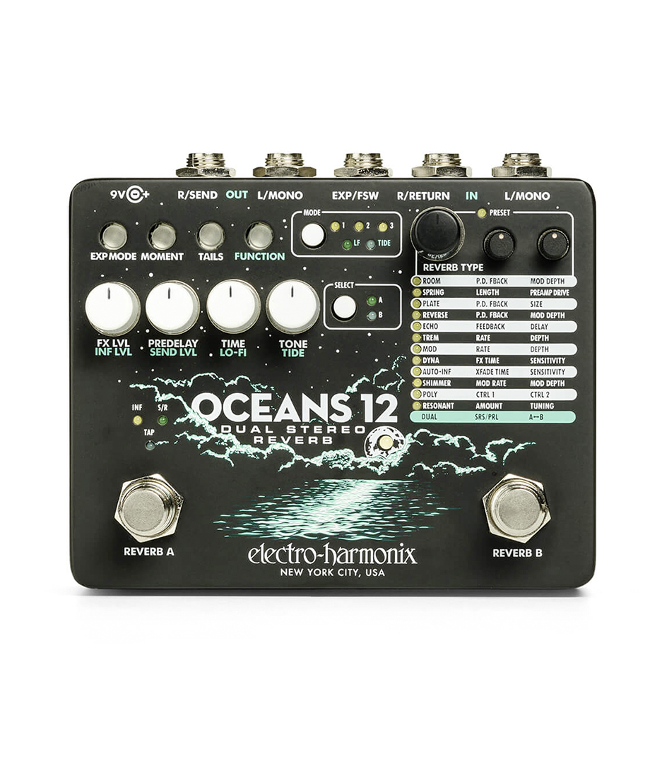 Electro Harmonix - Oceans 12 Dual Stereo Reverb 9.6DC 200 PSU include
