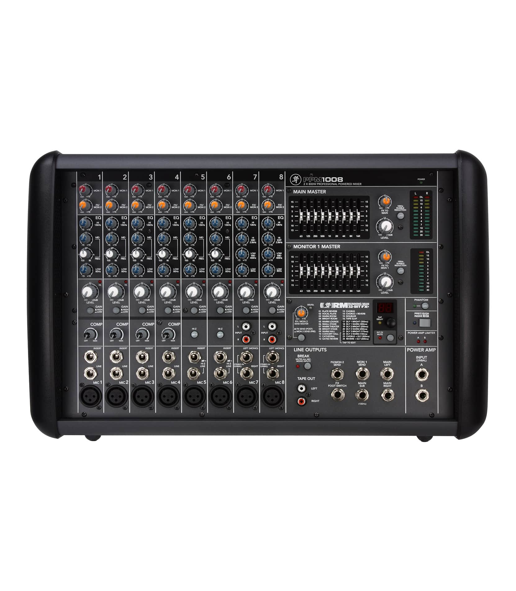 PPM1008 8 Channel Powered Mixer with Effects 1600W
