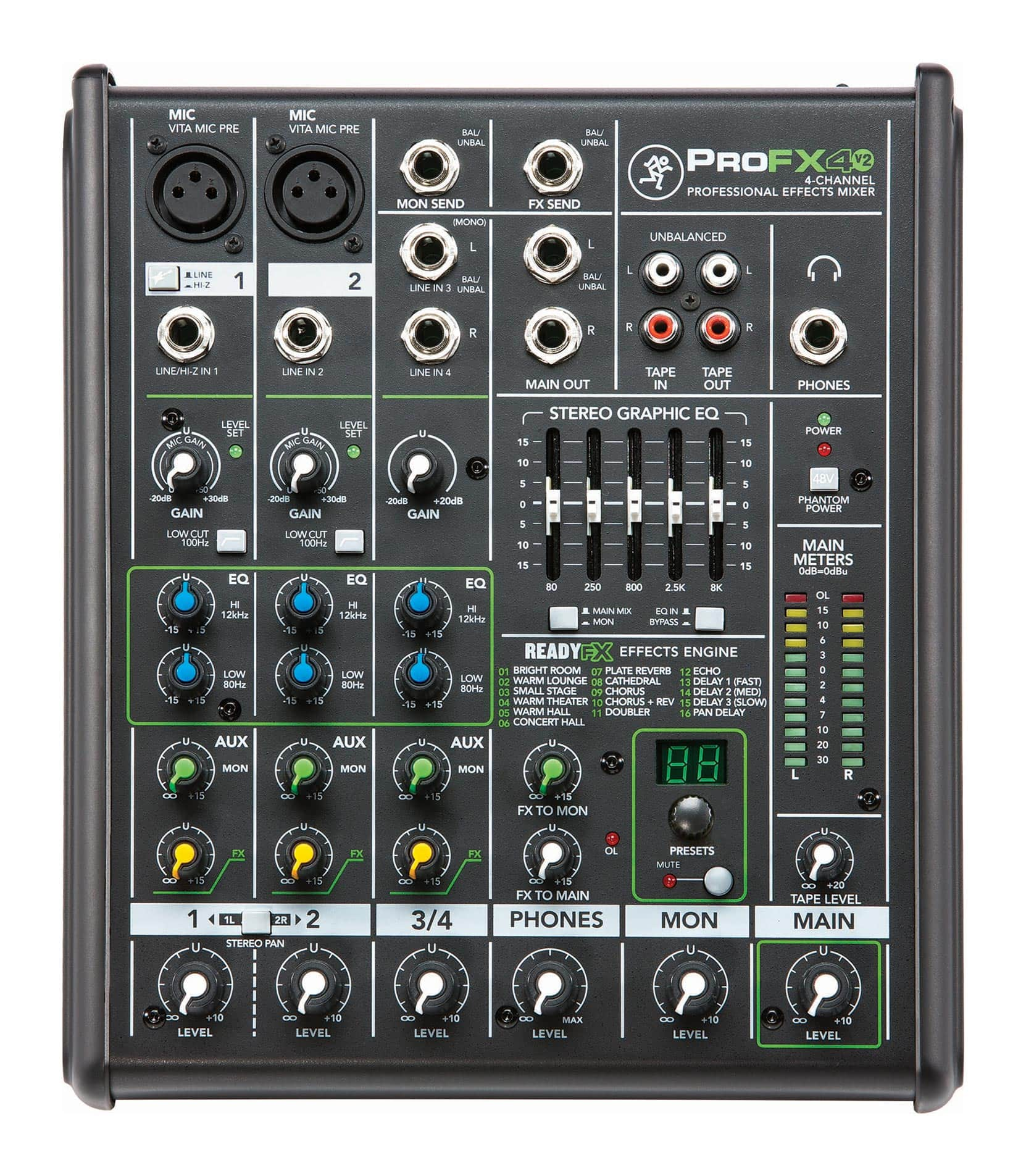 mackie - ProFX4 V2 4 Channel Effects Mixer UK Plug - Melody House Musical Instruments