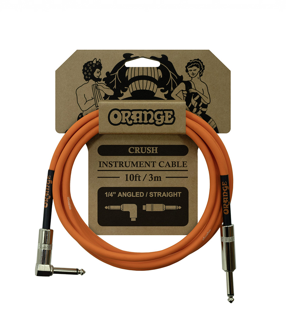 Orange - Crush 10ft Instrument Cable Angled to Straig