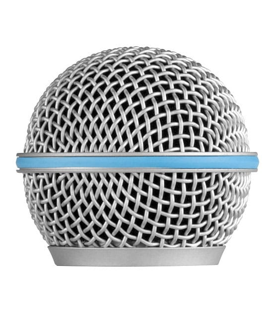 buy shure grille for beta58 silver gray with blue ring