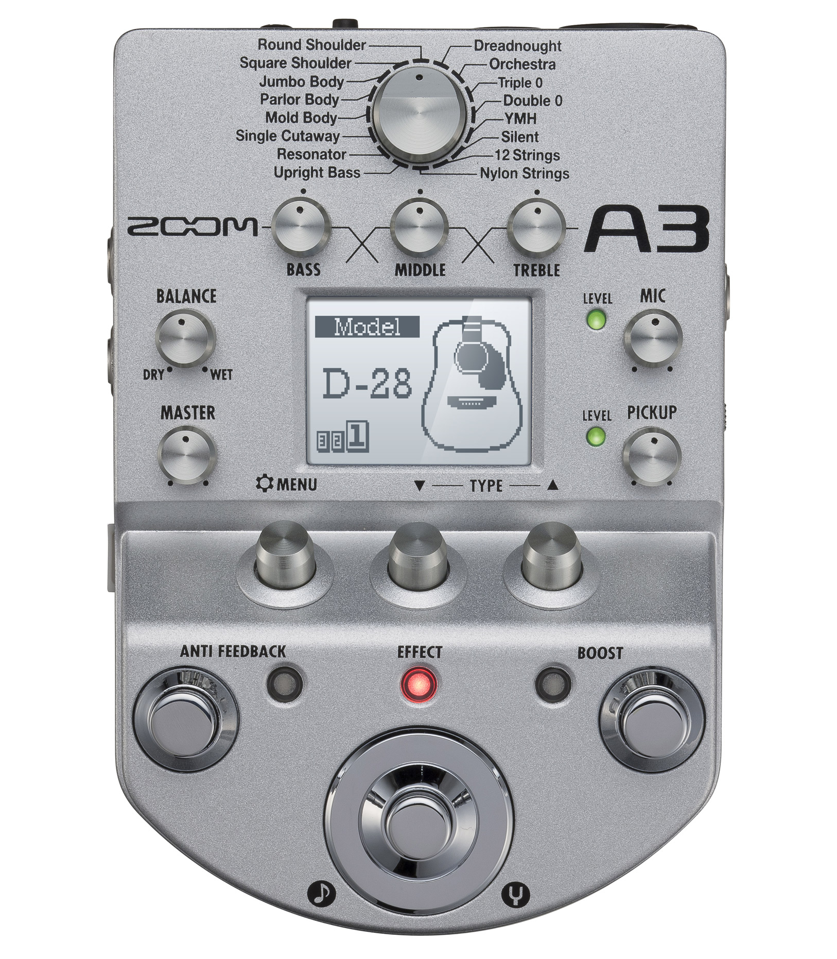 buy zoom a3 pre amp effects pedal for accoustic guitar